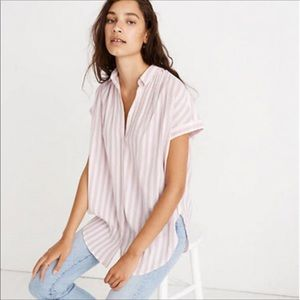 Madewell Central Stripe Button Down Tunic XL Lilac